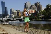 Виктория Азаренко, фото 191. Victoria Azarenka Posing with the Australian Open Trophy along the Yarra River in Melbourne - 29.01.2012, foto 191